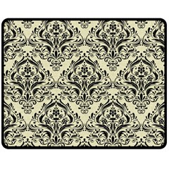 Damask1 Black Marble & Beige Linen (r) Fleece Blanket (medium) by trendistuff