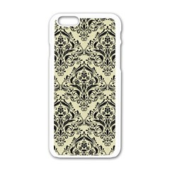 Damask1 Black Marble & Beige Linen (r) Apple Iphone 6/6s White Enamel Case by trendistuff