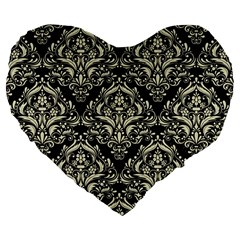 Damask1 Black Marble & Beige Linen Large 19  Premium Flano Heart Shape Cushion by trendistuff