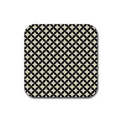 Circles3 Black Marble & Beige Linen (r) Rubber Coaster (square) by trendistuff