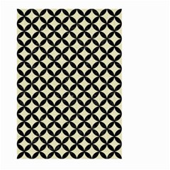 Circles3 Black Marble & Beige Linen (r) Large Garden Flag (two Sides)