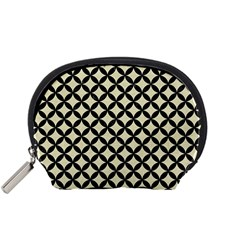 Circles3 Black Marble & Beige Linen (r) Accessory Pouch (small) by trendistuff