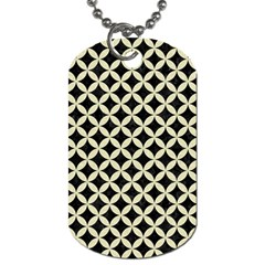 Circles3 Black Marble & Beige Linen Dog Tag (one Side) by trendistuff