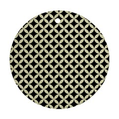 Circles3 Black Marble & Beige Linen Round Ornament (two Sides) by trendistuff