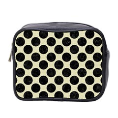 Circles2 Black Marble & Beige Linen (r) Mini Toiletries Bag (two Sides) by trendistuff