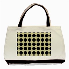 Circles1 Black Marble & Beige Linen (r) Basic Tote Bag (two Sides) by trendistuff