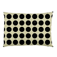 Circles1 Black Marble & Beige Linen (r) Pillow Case (two Sides) by trendistuff