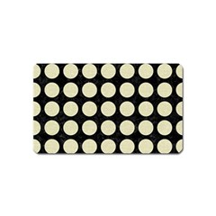Circles1 Black Marble & Beige Linen Magnet (name Card) by trendistuff
