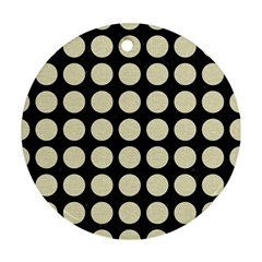 Circles1 Black Marble & Beige Linen Round Ornament (two Sides) by trendistuff