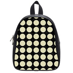 Circles1 Black Marble & Beige Linen School Bag (small) by trendistuff