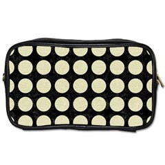 Circles1 Black Marble & Beige Linen Toiletries Bag (two Sides) by trendistuff