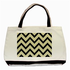 Chevron9 Black Marble & Beige Linen (r) Basic Tote Bag by trendistuff