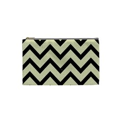 Chevron9 Black Marble & Beige Linen (r) Cosmetic Bag (small)
