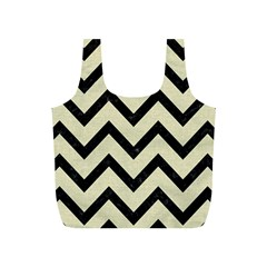 Chevron9 Black Marble & Beige Linen (r) Full Print Recycle Bag (s) by trendistuff