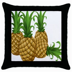 Pineapples Tropical Fruits Foods Throw Pillow Case (black) by Nexatart