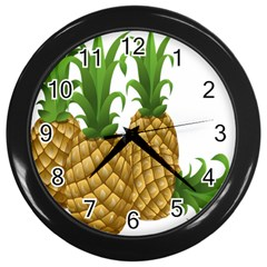 Pineapples Tropical Fruits Foods Wall Clocks (black) by Nexatart