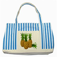 Pineapples Tropical Fruits Foods Striped Blue Tote Bag