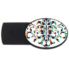 Damask Decorative Ornamental Usb Flash Drive Oval (4 Gb) by Nexatart