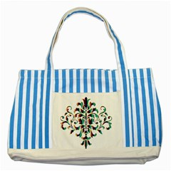 Damask Decorative Ornamental Striped Blue Tote Bag by Nexatart