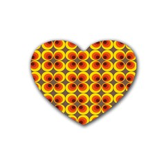 Seventies Hippie Psychedelic Circle Heart Coaster (4 Pack)  by Nexatart