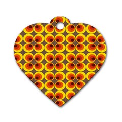 Seventies Hippie Psychedelic Circle Dog Tag Heart (two Sides)