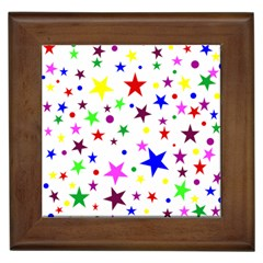Stars Pattern Background Colorful Red Blue Pink Framed Tiles