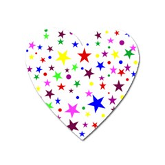 Stars Pattern Background Colorful Red Blue Pink Heart Magnet