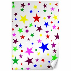 Stars Pattern Background Colorful Red Blue Pink Canvas 12  X 18   by Nexatart