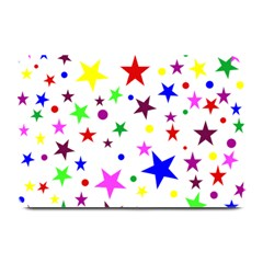 Stars Pattern Background Colorful Red Blue Pink Plate Mats by Nexatart