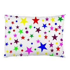 Stars Pattern Background Colorful Red Blue Pink Pillow Case by Nexatart