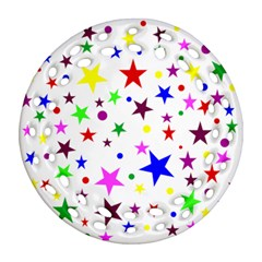 Stars Pattern Background Colorful Red Blue Pink Round Filigree Ornament (two Sides) by Nexatart