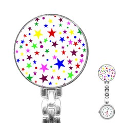 Stars Pattern Background Colorful Red Blue Pink Stainless Steel Nurses Watch by Nexatart