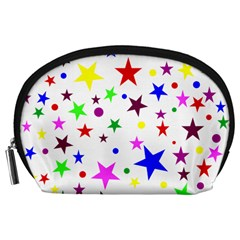 Stars Pattern Background Colorful Red Blue Pink Accessory Pouches (large)  by Nexatart