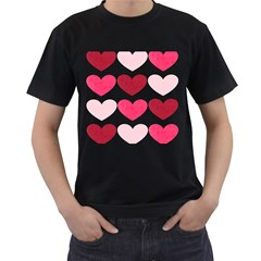 Valentine S Day Hearts Men s T-shirt (black) (two Sided) by Nexatart