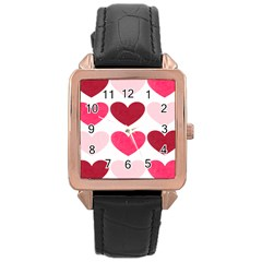 Valentine S Day Hearts Rose Gold Leather Watch