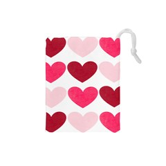 Valentine S Day Hearts Drawstring Pouches (small)  by Nexatart