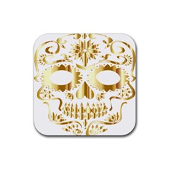 Sugar Skull Bones Calavera Ornate Rubber Square Coaster (4 Pack)