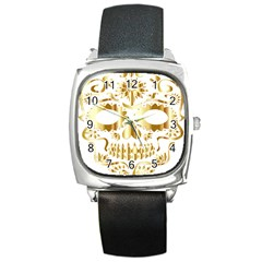 Sugar Skull Bones Calavera Ornate Square Metal Watch