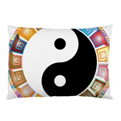 Yin Yang Eastern Asian Philosophy Pillow Case (two Sides) by Nexatart