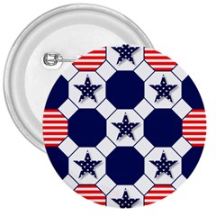 Patriotic Symbolic Red White Blue 3  Buttons by Nexatart