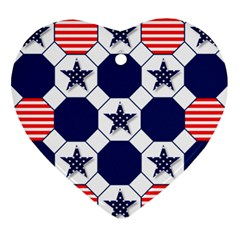 Patriotic Symbolic Red White Blue Ornament (heart) by Nexatart