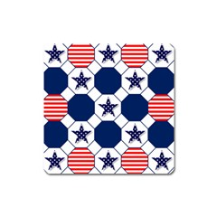 Patriotic Symbolic Red White Blue Square Magnet by Nexatart