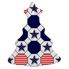 Patriotic Symbolic Red White Blue Christmas Tree Ornament (two Sides) by Nexatart