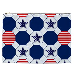 Patriotic Symbolic Red White Blue Cosmetic Bag (xxl)  by Nexatart