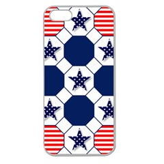 Patriotic Symbolic Red White Blue Apple Seamless Iphone 5 Case (clear) by Nexatart