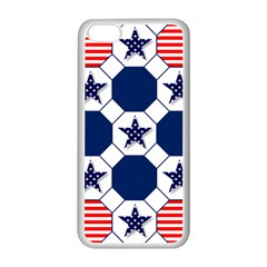 Patriotic Symbolic Red White Blue Apple Iphone 5c Seamless Case (white) by Nexatart