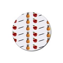 Ppap Pen Pineapple Apple Pen Rubber Round Coaster (4 Pack)  by Nexatart
