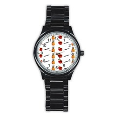 Ppap Pen Pineapple Apple Pen Stainless Steel Round Watch by Nexatart