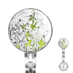 Floral Pattern Background Stainless Steel Nurses Watch by Nexatart