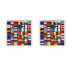 Europe Flag Star Button Blue Cufflinks (square) by Nexatart